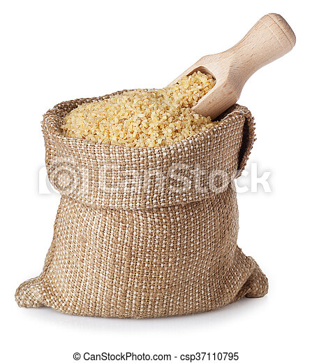 Bulgur in bag with wooden scoop isolated on white background - csp37110795