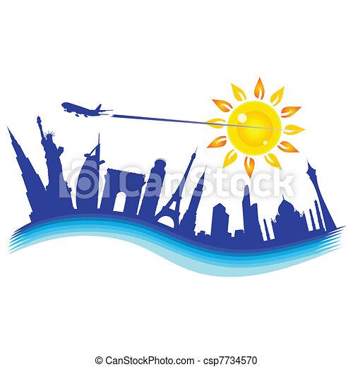 buliding, aeroplano, illustrazione, viaggiare - csp7734570