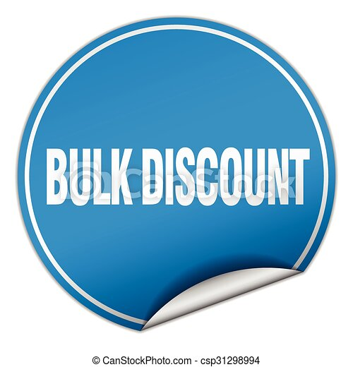 bulk discount round blue sticker isolated on white - csp31298994