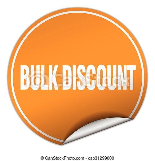 bulk discount round orange sticker isolated on white - csp31299000