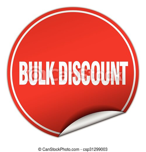bulk discount round red sticker isolated on white - csp31299003