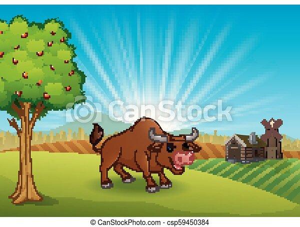 Bull activity at farm in the morning - csp59450384