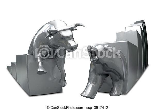 Bull And Bear Converge Metal Fish-Eye - csp13917412
