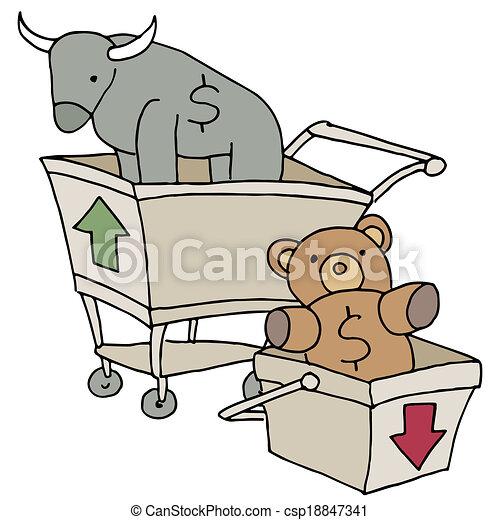 Bull and Bear Shopping Carts - csp18847341