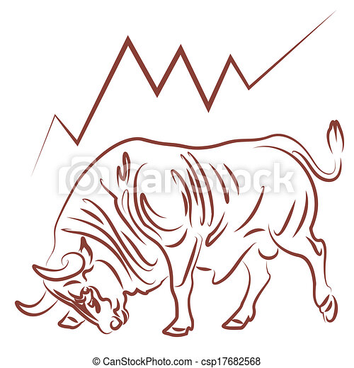bull and bullish stock market trend - csp17682568