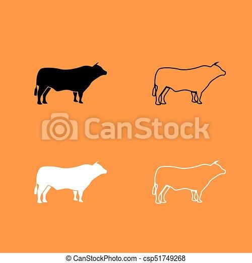 Bull black and white set icon . - csp51749268