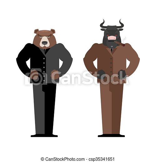 Bull Businessman. Bear Businessman. Bulls and bears traders on stock market. Business Office suit. Confrontation between traders in securities market - csp35341651