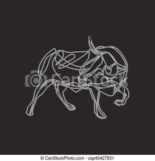 Bull cartoon - vector illustration - csp45427831