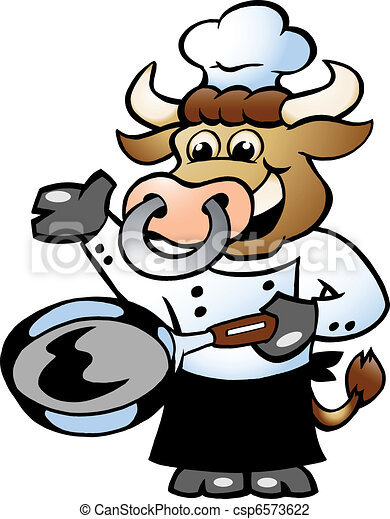 Bull Chef Cook holding a Pan  - csp6573622