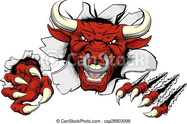 Bull claws smash out - csp28903098