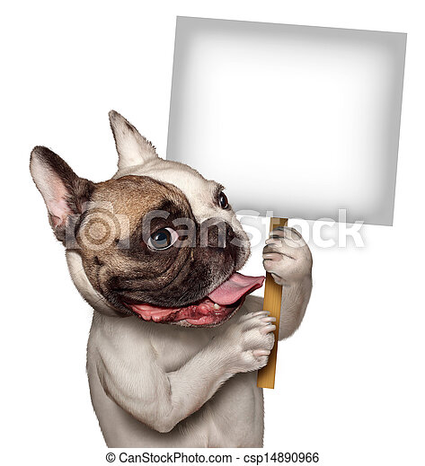 Bull Dog Holding A Sign - csp14890966