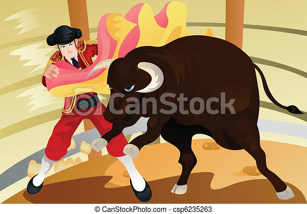 Bull fighting matador - csp6235263