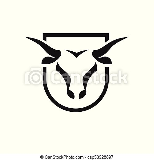 bull head black shield vector logo concept illustration eps rh canstockphoto com bullhead car logo bull head logo outline