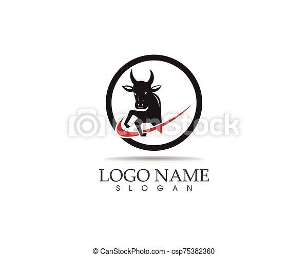 Bull head icon logo design vector template - csp75382360