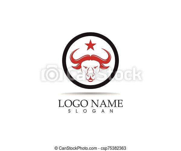 Bull head icon logo design vector template - csp75382363