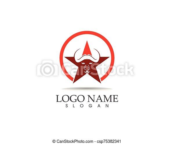 Bull head icon logo design vector template - csp75382341