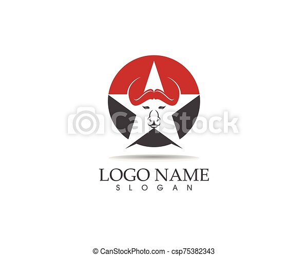 Bull head icon logo design vector template - csp75382343