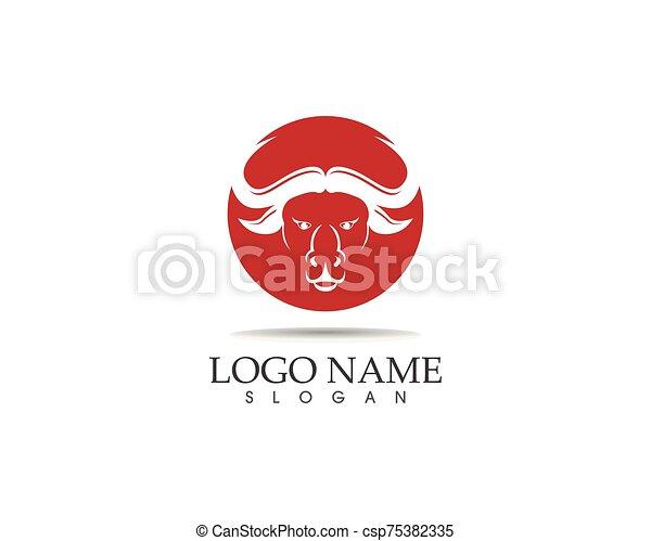 Bull head icon logo design vector template - csp75382335