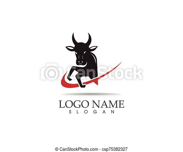Bull head icon logo design vector template - csp75382327