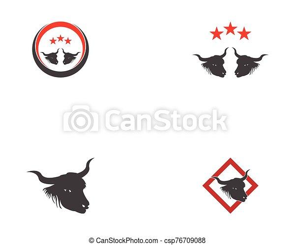Bull head icon logo vector - csp76709088