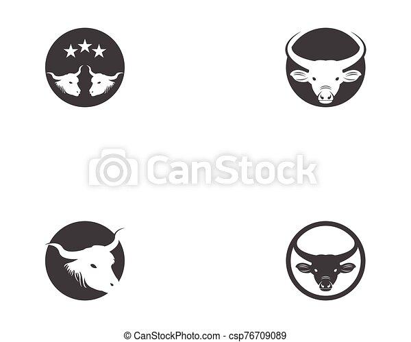 Bull head icon logo vector - csp76709089