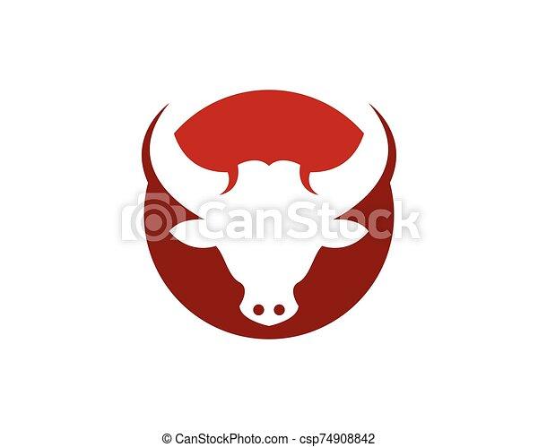 Bull head icon logo vector template - csp74908842