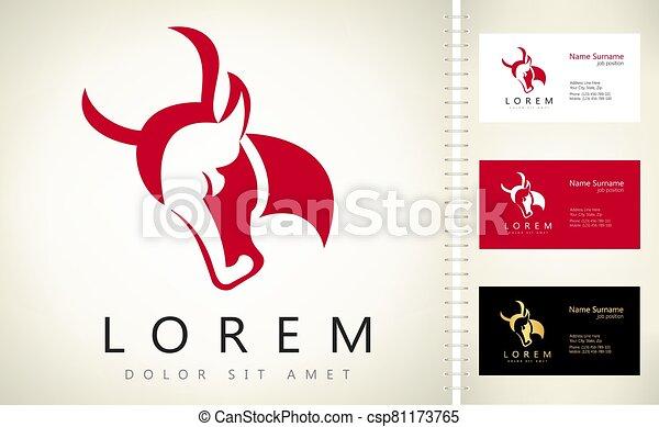 bull head logo vector design - csp81173765