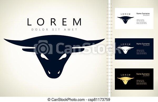 bull head logo vector design - csp81173759