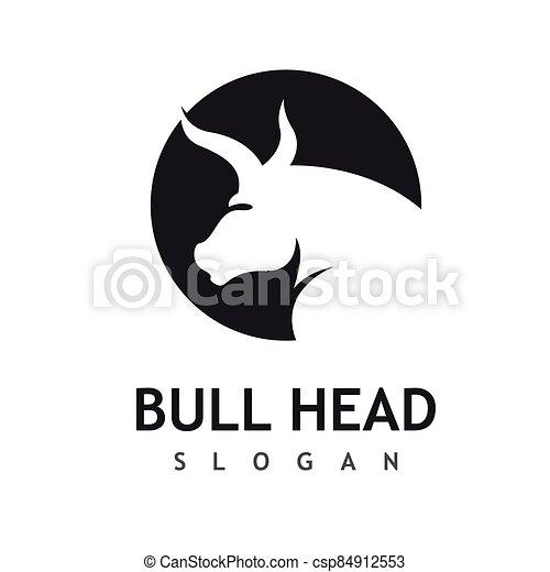 Bull head logo vector icon - csp84912553