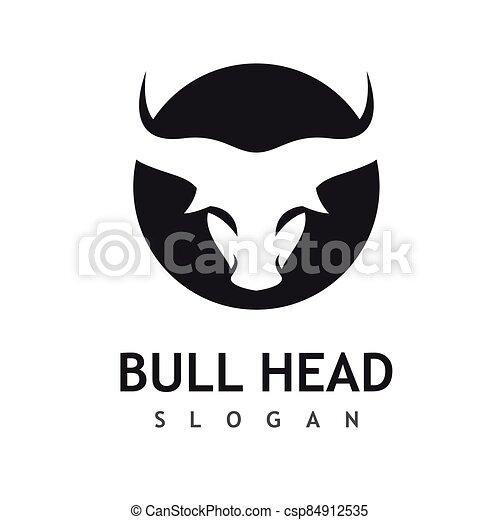 Bull head logo vector icon - csp84912535