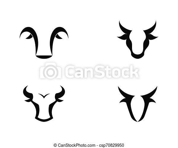 Bull head logo vector icon illustration - csp70829950