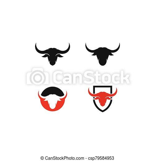 Bull head logo vector icon illustration - csp79584953