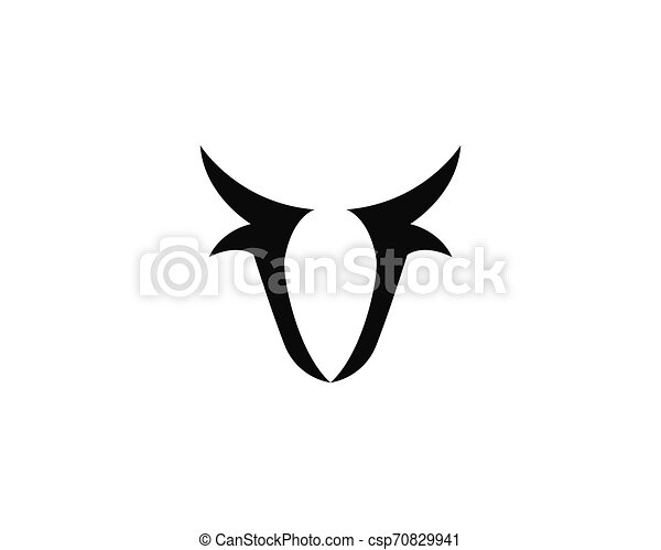 Bull head logo vector icon illustration - csp70829941