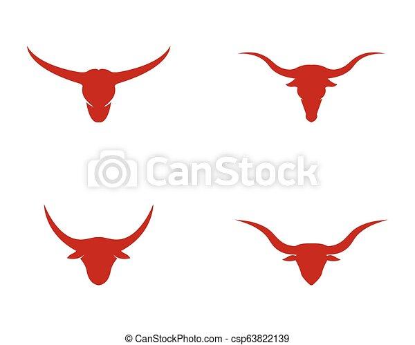 Bull head logo vector icon illustration design - csp63822139