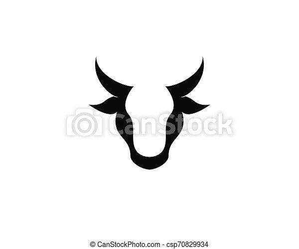 Bull head logo vector icon illustration - csp70829934