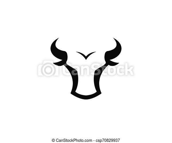 Bull head logo vector icon illustration - csp70829937