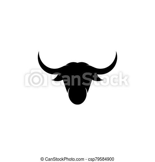 Bull head logo vector icon illustration - csp79584900