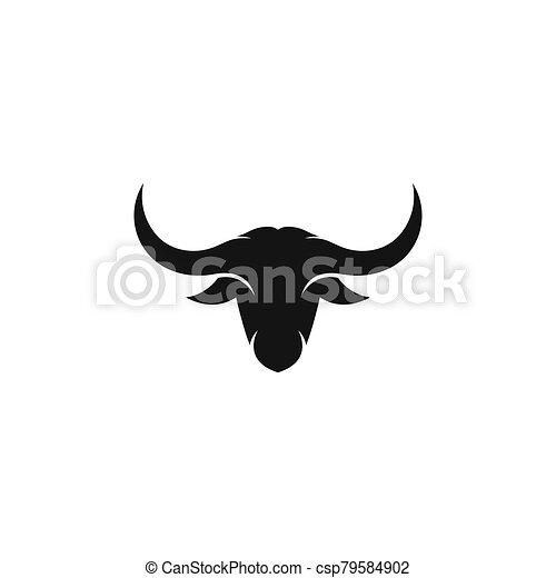 Bull head logo vector icon illustration - csp79584902