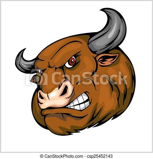 Bull Head Mascot - vector illustration for sport team - csp25452143