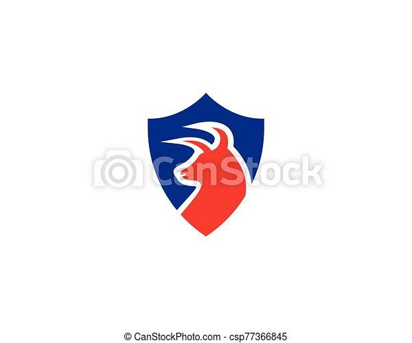 Bull head shield logo design vector - csp77366845