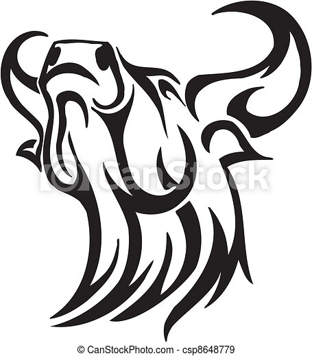 Bull in tribal style - vector image. - csp8648779