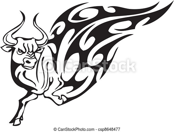 Bull in tribal style - vector image. - csp8648477