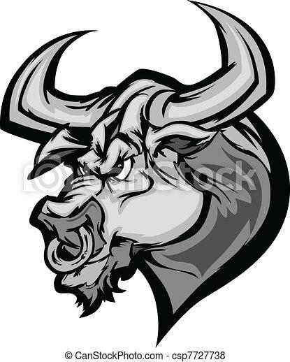 Bull Longhorn Mascot Head Vector Ca - csp7727738