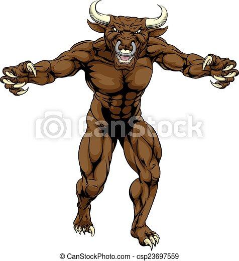 Bull Minotaur Character Attacking - csp23697559