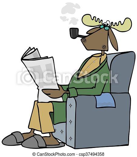 bull moose reading a newspaper illustration of a bull moose rh canstockphoto co uk Bull Outline Bull Outline