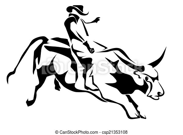 bull riding silhouette cowboy and bull isolatd on white vector rh canstockphoto com mechanical bull riding clip art