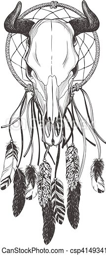 a107455c4 Bull skull with feathers and dreamcatcher. native american indian talisman.  vector hand drawn hipster illustration isolated on white background. boho  design ...