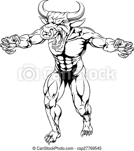 Bull sports mascot claws out - csp27769545