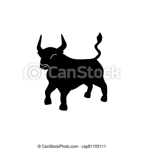Bull vector icon illustration isolated on white background. Ox hand drawn logo - csp81103111