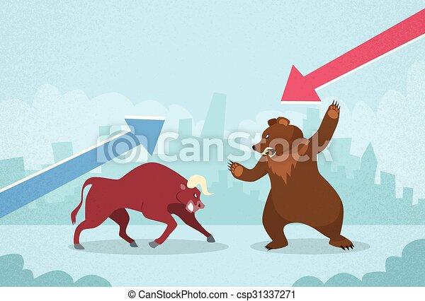 Bull vs Bear Stock Exchange Concept Finance Business - csp31337271